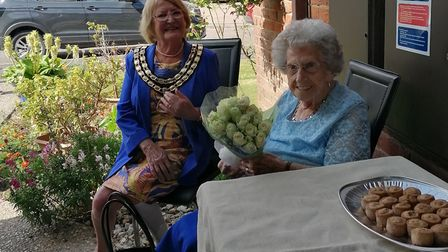 (Right to left) Janet Nichols, of Watton, marked her 100th birthday with a visit from Watton mayor,