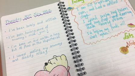 A diary entry written by NICU staff to inform families of their little one's progress when they cann