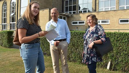 Laura Sillitoe celebrating her A-level results at Norwich High School for Girls. Picture: NHSG