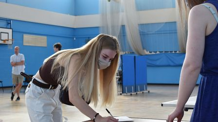 Rebecca Cook picks up her A-level results at Hellesdon High School. Picture: Wensum Trust