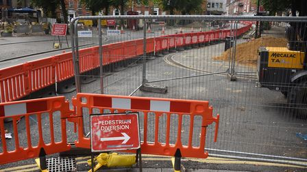 Works to improve Tombland for pedestrians and cyclists has begun. Picture: DENISE BRADLEY
