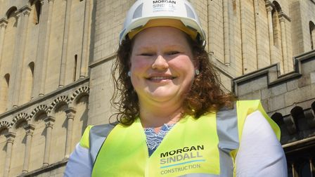 Hannah Jackson, project manager Norfolk Museums Service, at Norwich Castle Keep as the construction