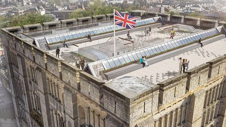 Visualisation of the new Norwich Castle Keep roof viewing platform. Pic: Feilden + Mawson.