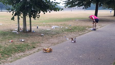 Some of the rubbish left in Eaton Park, Norwich, which was discovered by Claire Johnson on August 11