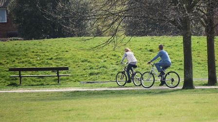 People out cycling and exercising in Eaton Park during lockdown. Picture: DENISE BRADLEY