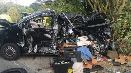 Police attended the scene of a three vehicle collision at Crostwick. Picture: Norfolk and Suffolk Ro