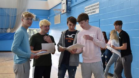 Pupils celebrate GCSE results at Hellesdon High School. Picture: Wensum Trust