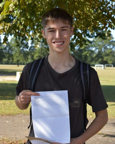 City of Norwich School pupil Sam Johns got five 9s, four 8s and one A in his GCSEs. Picture: Ormisto