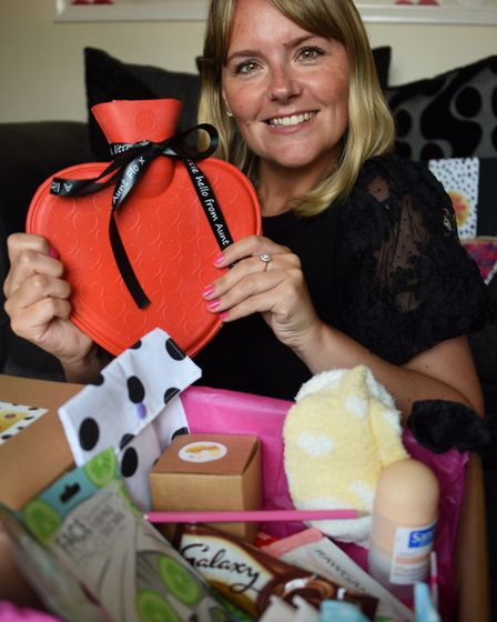 Emily Clark of Badersfield, with one of her period kits, a care and information pack designed for yo
