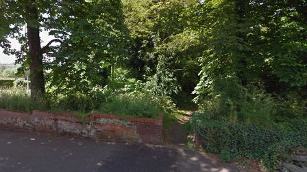 An entrance to Clapham Woods, off St Martins Road. A man has died after being found with serious hea