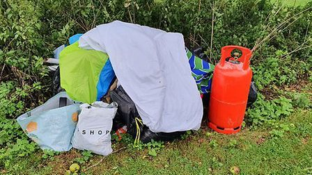 Rubbish left by Travellers onthe Danby Close parkland. Picture: James Wright