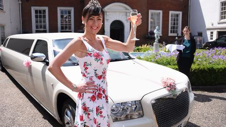 Sue Leeming celebrating her 10th anniversary of being free of cancer in 2018 with a limo at the Asse