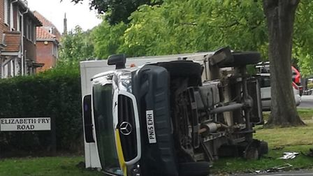 Overturned delivery lorry in Elizabeth Fry Road in Norwich. Picture: Anna Glowa