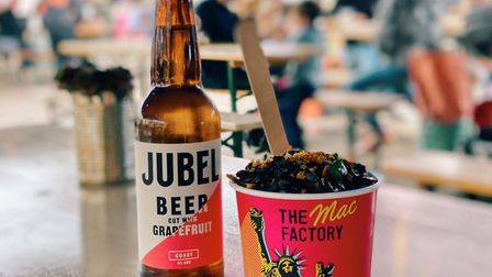 Jubel beer with vegan macaroni cheese from The Mac Factory Picture: James Randle