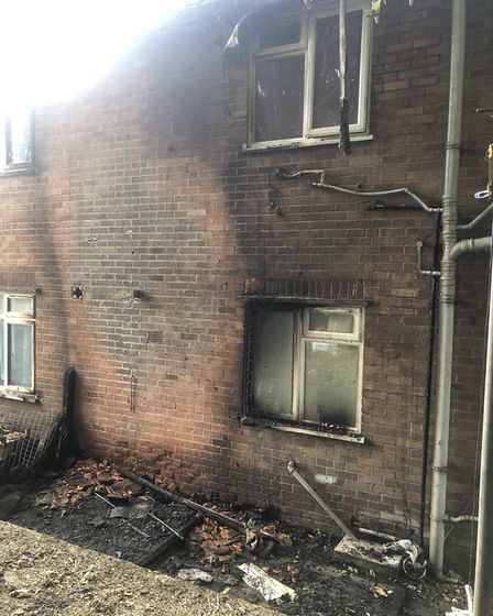 The fire was right next to the home of Jodie Adams-Womack and her family. Pic: Jodie Adams-Womack.