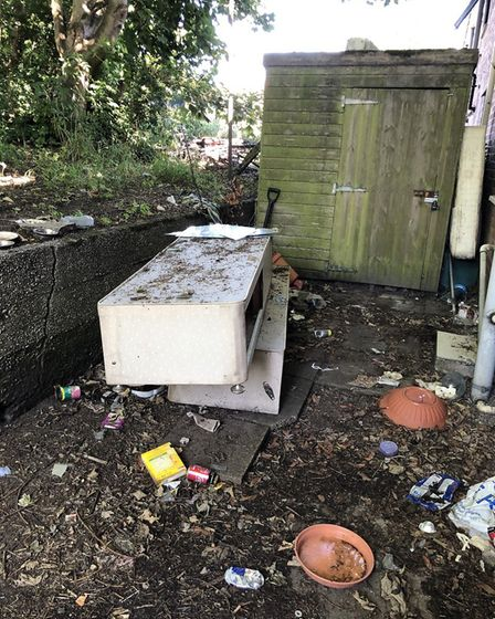 Police are probing the arson attack on the shed in Berners Close. Pic: Jodie Adams-Womack.