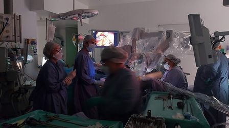 Inside the theatre as the surgical teams worked similtaneously during the procedure. Picture: NNUH