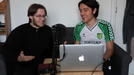 Band mates from The Revere Alfie Britcher, and Billy Dunthorne record their Norwich City podcast. Pi