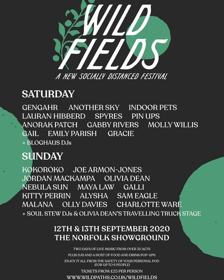 The line-up for Wild Fields Festival at the Norfolk Showground this September