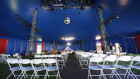 Social distancing seating in the big top tent at Interlude in Chapelfield Gardens Picture: DENISE BR