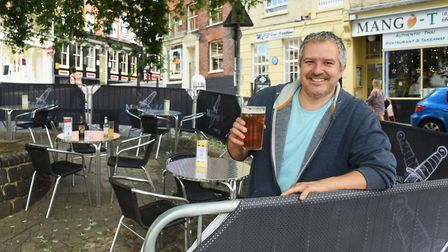 Phil Cutter in his new outside seating area outside the Murderers Picture: DENISE BRADLEY