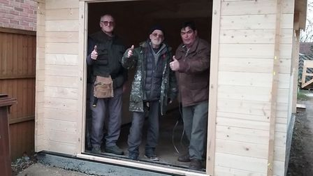 Swaffham Men's Shed members Gordon, Colin and Dave, in a shed they helped to build. Picture: Suppli