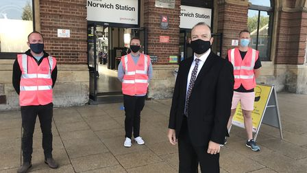 Rail minister Chris Heaton-Harris visits Norwich Station. Picture: Department for Transport