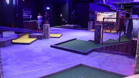 The crazier golf course at the newly opened Boom: Battle Bar in Norwich's Castle Quarter. Picture: D