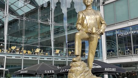 An Alan Partridge statue has appeared outside The Forum in Norwich. Picture: Ruth Lawes