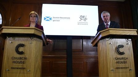 Scottish first minister Nicola Sturgeon and Welsh first minister Mark Drakeford during a joint press conference at Bishop...