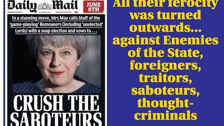 Daily Mail front page, 2017; George Orwell, 1949
