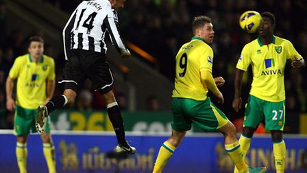 Newcastle's James Perch heads clear. Picture: Paul Chesterton / Focus Images