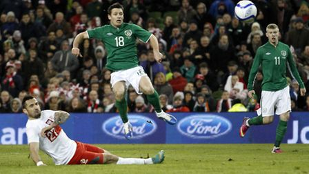 Wes Hoolahan scores his first international goal for the Republic of Ireland against Poland. Picture