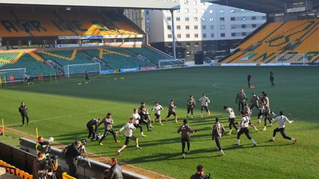 Norwich City's squad were forced to train at Carrow Road prior to heading to Liverpool on Thursday w