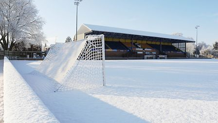 The pitch at The Walks, home of King's Lynn Town FC, is covered by a blanket of snow. Picture: Ian B
