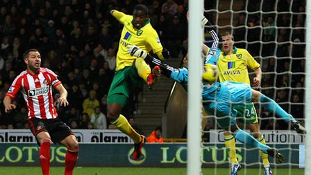Sebastien Bassong opens the scoring for Norwich City against Sunderland in the fixture at Carrow Roa