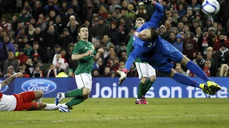 Norwich City star Wes Hoolahan scores his first goal for the Republic of Ireland. Picture: Ken Sutto