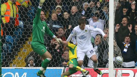 Luciano Becchio - pictured scoring against Norwich City in 2011 - is reportedly set to swap Elland R