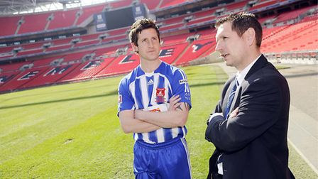 Graham Challen and David Batch at Wembley prior to the FA Vase final defeat by Whitley Bay in 2010.