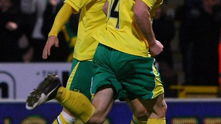 Wes Hoolahan celebrates opening the scoring for Norwich City against Spurs. Picture: Paul Chesterton