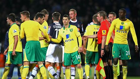 Handshakes all round at the end of the FA Cup tie between Norwich City and Luton Town. Picture: Paul