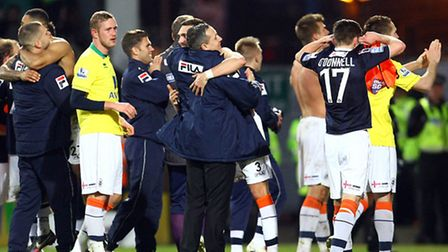 The Luton Town players celebrate victory at the end of the game. Picture: Paul Chesterton / Focus Im