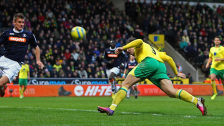 Grant Holt gets in a header that was saved by Mark Tyler. Picture: Paul Chesterton / Focus Images