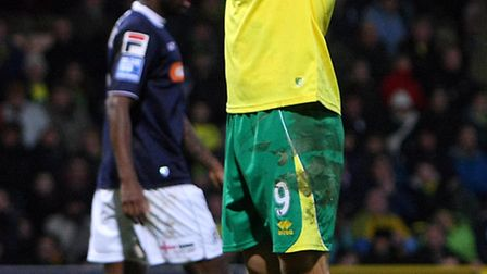 Norwich City's Grant Holt rues a missed chance against Luton Town. Picture: Paul Chesterton / Focus