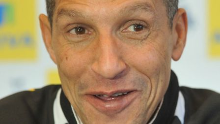 Chris Hughton at Thursday's press conference at Carrow Road, after his players had trained on the sn