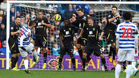 Adel Taarabt sees his free kick sail over the Norwich City wall, and the crossbar. Picture: Paul Che