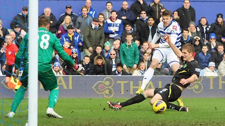 Jamie Mackie drags his shot wide of Mark Bunn's goal. Picture: Paul Chesterton / Focus Images