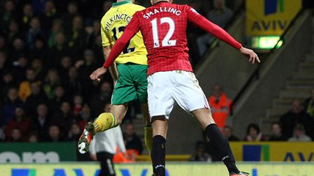 Norwich City's Anthony Pilkington scores the winner against Manchester United when the two sides met