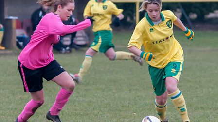 Vicki Stephens, one of City's scorers, on the ball against Thorpe.