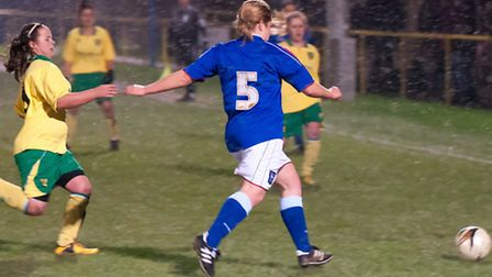 City goalscorer Nadine Basson pictured closing in on an Ipswich opponent